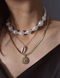 Fashion Gold Shell Embossed Flower Pearl Micro-embedded Multi-layer Necklace