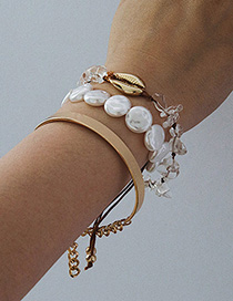 Fashion Three-piece Gold Ring Pearl Shell Original Stone Bracelet Set