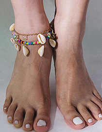 Fashion Color Star-shaped Rice Beads Shell Multi-layered Anklet
