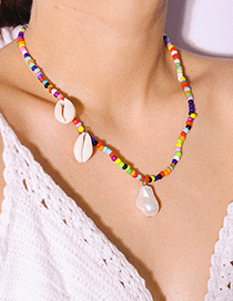Fashion Color Rice Beads Pearl Shell Asymmetric Necklace
