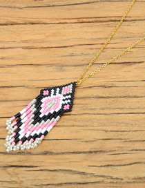 Fashion Pink Woven Rice Beads Necklace