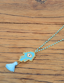 Fashion Light Blue Palm Woven Rice Beads Necklace