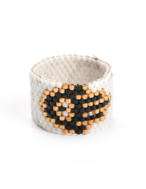 Fashion White Palm Totem Rice Beads Woven Ring
