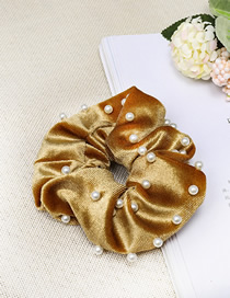 Fashion Ginger Yellow Gold Velvet Fabric Nail Pearl Hair Ring