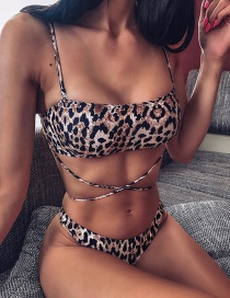 Fashion Leopard Printed Straps Split Swimsuit