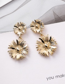 Fashion Gold Size Three-dimensional Flower Earrings