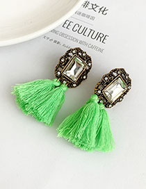 Fashion Green Alloy-studded Square Tassel Earrings
