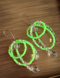 Fashion Fluorescent Green Rice Beads Crystal Stitching Earrings