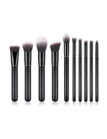 Fashion Black 10 Sticks With Wooden Handle Makeup Brush