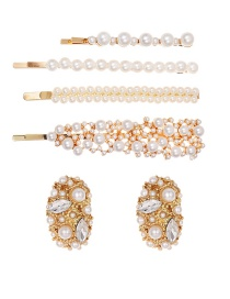 Fashion Gold Alloy Pearl Rhinestone Hairpin Earrings Set Of 6