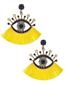 Fashion Yellow + Black Alloy Diamond Pierced Eye Tassel Earrings
