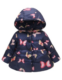 Fashion Blue Butterfly Hooded Printed Button Children's Cotton Clothes