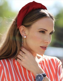 Fashion Wine Red Drum Bag Thick Knot Knotted Wide-brimmed Headband