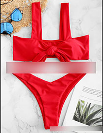 Fashion Red Tube Top Solid Color Bow Split Swimsuit