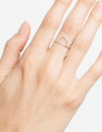 Fashion Steel Color Stainless Steel Geometric Semicircular Ring