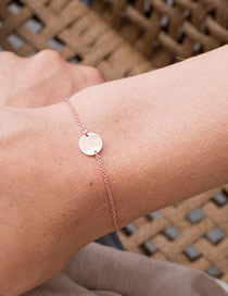 Fashion Rose Gold Round Stainless Steel Gold-plated Bracelet