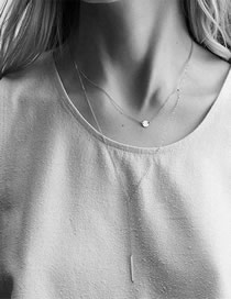 Fashion Steel Color Stainless Steel Geometric Double-layer Necklace