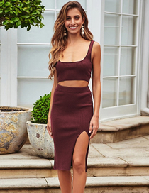 Fashion Red Wine Knitted Vest + Striped Skirt Two-piece Suit