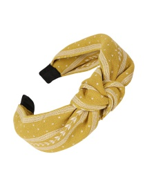 Fashion Yellow Cloth Bow Knotted Wide-brimmed Headband