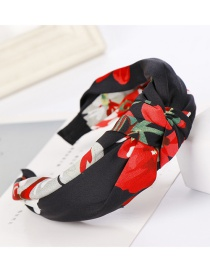Fashion Black Flower Fabric Wide-brimmed Knotted Cross-bow Headband