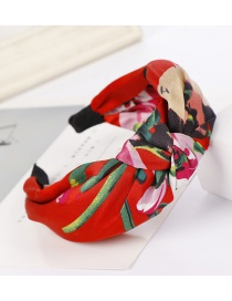 Fashion Big Red Flower Fabric Wide-brimmed Knotted Cross-bow Headband