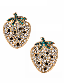 Fashion White Alloy Studded Strawberry Stud Earrings