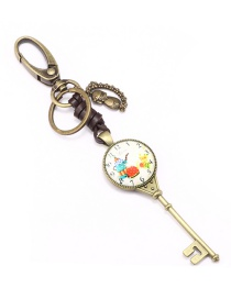 Fashion Gold Alloy Glass Clock Key Shape Keychain