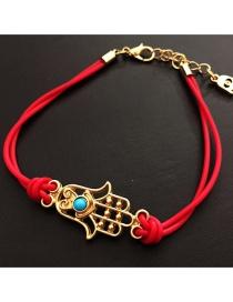 Fashion Red Alloy Eye Palm Braided Bracelet
