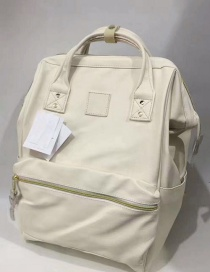 Fashion White Large Pu Leather Portable Backpack