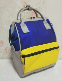 Fashion Blue And Yellow Color Matching Pu Colorblock Waterproof Backpack