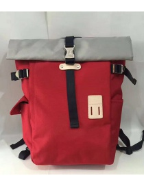 Fashion Red Pure Color Decorated Backpack