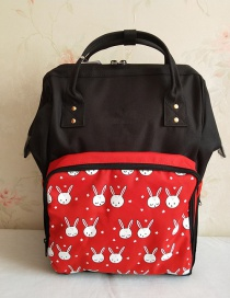 Fashion Black And Red Bunny Color Matching Oxford Cloth Handbag Multi-function Backpack