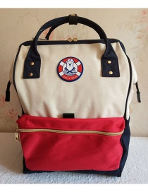 Fashion Red And White Color Matching Oxford Cloth Carrying Backpack