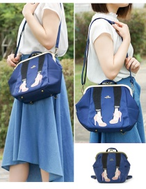 Fashion Blue Beautiful Leg Embroidery Clip Shoulder Portable Backpack