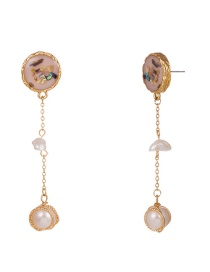 Fashion Light Pink Drip Oil Color Shell Natural Stone Earrings