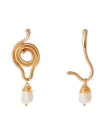 Fashion Gold Shaped Weave Natural Freshwater Pearl Earrings