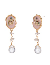 Fashion Gold Colorful Shell Natural Transparent Drop Stone Earrings