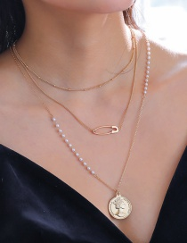 Fashion Gold Double-layer Coin Queen Necklace