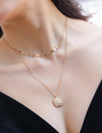 Fashion Gold Multilayer 18k Gold Square Metal Necklace