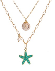 Fashion Gold Green Paint Metal Starfish Natural Shell Freshwater Pearl Multilayer Necklace