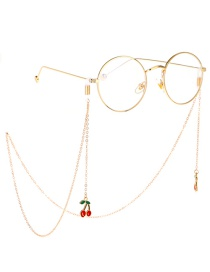 Fashion Gold Non-slip Metal Red Cherry Glasses Chain