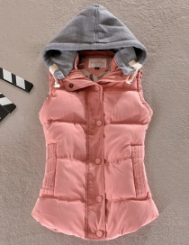 Fashion Pink Hooded Cotton And Velvet Padded Vest Short