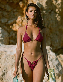 Fashion Red Wine Lace-up Split Swimsuit
