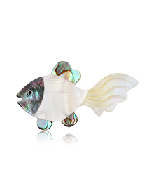 Fashion White Alloy Resin Shell Small Goldfish Brooch