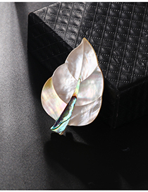 Fashion Color Alloy Resin Shell Leaf Brooch