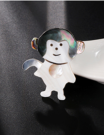 Fashion Color Alloy Resin Shell Small Monkey Brooch