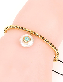 Fashion Gold Pearl Micro-encrusted Eye Woven Copper Bead Bracelet