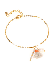 Fashion Gold Tassel Freshwater Pearl Rice Beads Stainless Steel Fine Bracelet