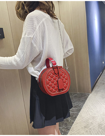 Fashion Red Rhombic Rivet Portable Slung Shoulder Bag