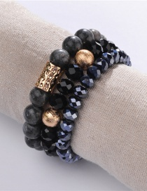 Fashion Black Natural Stone Beads Cut Surface Crystal Elastic Line Bracelet